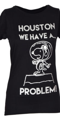 """T-shirt Snoopy """"Houston we have a problem"""" con glitter"""