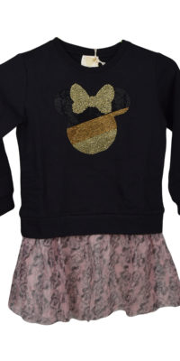 Sweatshirt bambina/ragazzina Minnie painter oro gonna tulle beige