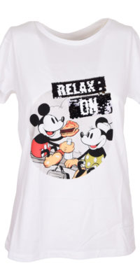 "T-shirt Minnie & Topolino ""Relax on"" reverse nero/oro"