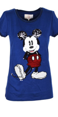T-shirt Topolino reverse multicolor con colletto brillantinato
