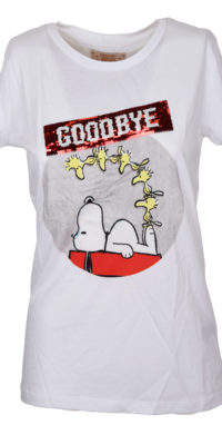 "T-shirt Snoopy ""Hello"" reverse nero/rosso"