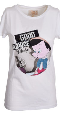 "T-shirt Pinocchio ""No bad advice"" reverse nero/nero"