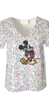 T-shirt Topolino con paillettes multicolor